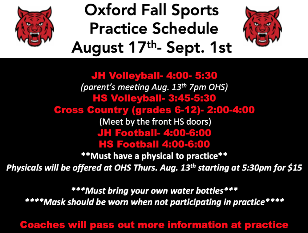 Fall Sports Start Aug. 17th