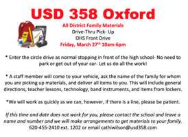 Materials Pick-Up Friday, March 27th.